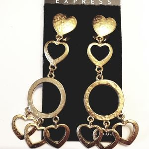 Express Textured Gold Heart&Circle Clipon Earrings